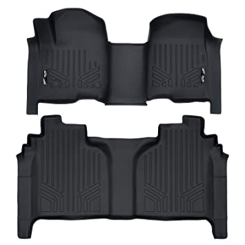Maxliner Floor Mats 2 Row Liner Set Black For 2019 Silverado Sierra 1500 Crew Cab With 1st Row Bench Or Bucket Seats