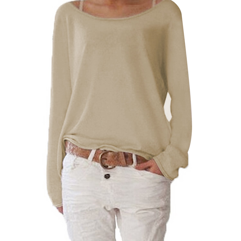Top a Maniche Lunghe Casual Basic da Donna Pullover Sweatshirt
