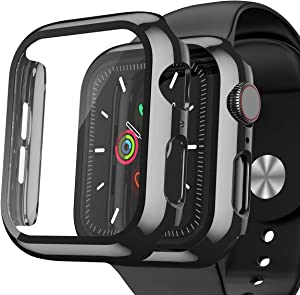 [2 Pack] EWUONU Plated Case for Apple Watch 38mm Series 3/2/1 with Build-in Tempered Glass Watch Screen Protector, Hard PC Watch Bumper Full Cover for iWatch 3/2/1 Black