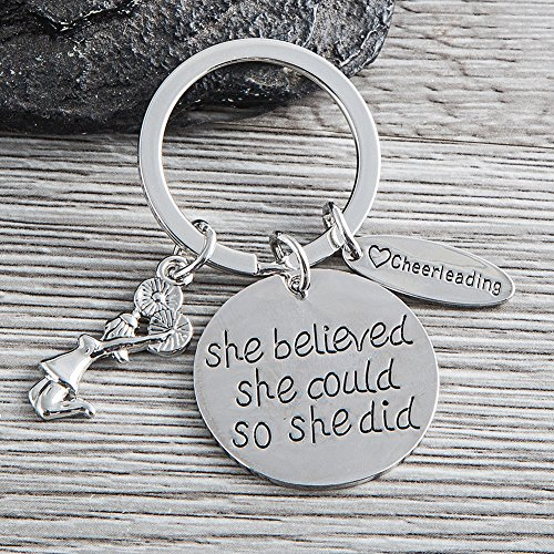 Sportybella Cheer Keychain- Girls Cheerleading She Believed She Could So She Did Key Chain, Cheerleader Charm Keychain, Cheer Jewelry for Cheerleaders & Cheer Coaches by Sportybella (Image #2)