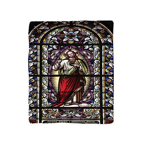 VROSELV Custom Blanket Sacred Heart of Jesus Pictures for Living Room Decoration Catholic Gifts Believe Art Christian Church Cathedral Window View Silky Satin Red Black White Blue by VROSELV