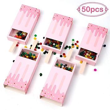AerWo 50pcs Forma de Helado Baby Shower Favorece Cajas Cajón Estilo Favor Cajas de Regalo para