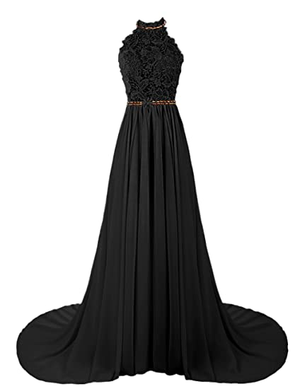 Dresstells Womens Long Halterneck Chiffon Prom Dress A-line Evening Dress Party Dress with Embroidery