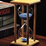 XDOBO New Design Hand-blown Hourglass in Wooden Stand, Indoor Decor and Sand Timer, Measures 60 Minutes (20 X10CM, Blue)