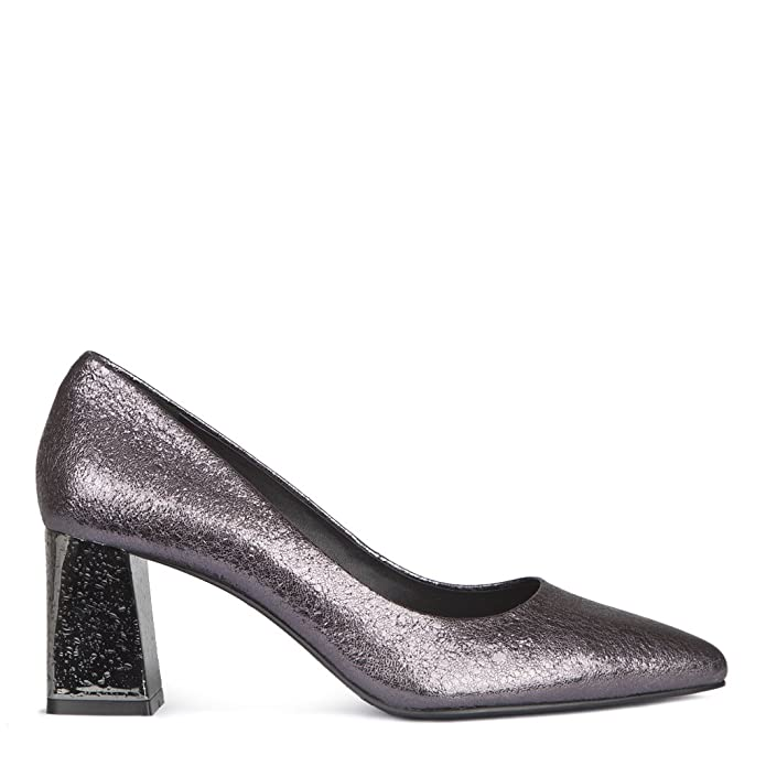 TJ Collection Women's Metallic Cracked-Leather Block Heel Courts:  Amazon.co.uk: Shoes & Bags