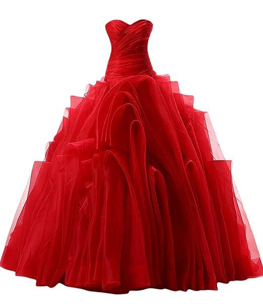 sunvary Vintage una línea Sweetheart tafetán/rollo de tul quinceañera vestidos vestidos de novia Rojo
