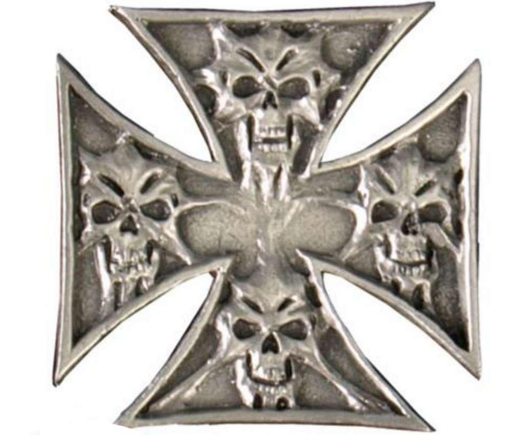 Pin's épinglette croix de malte et tête de mort AMT CUSTOM 28/PNA1017