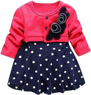 Vestidos Bebé Niña,Vestido de Princesa del Partido de la Princesa del Partido de la Manga Larga Floral Lunares del niño del niño del niño QINGXIA_ZI