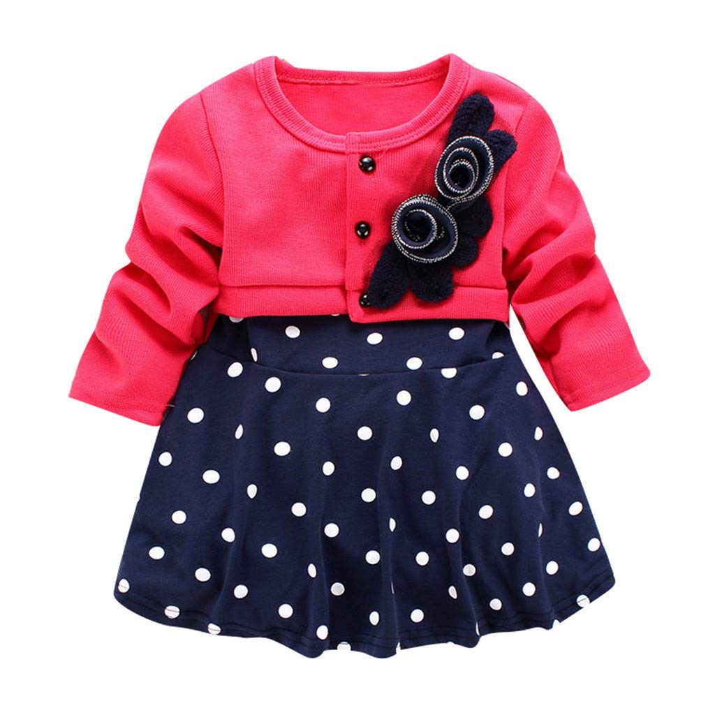 Infant/&Toddler Girls Long Sleeve Flower Polka Dots Party Princess Dress by Vinjeely