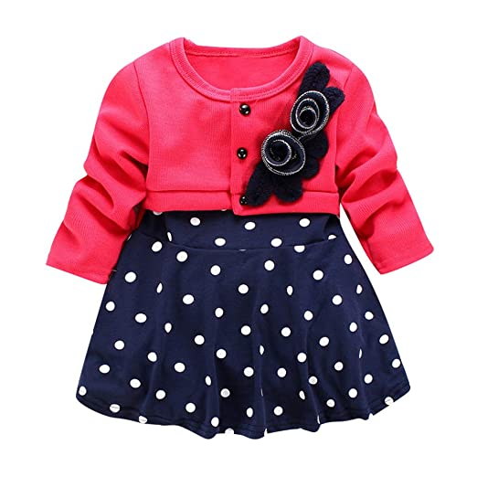 30c5f4b64359e Amazon.com: Jarsh Baby Dress, Infant Toddler Girl Clothes Long ...