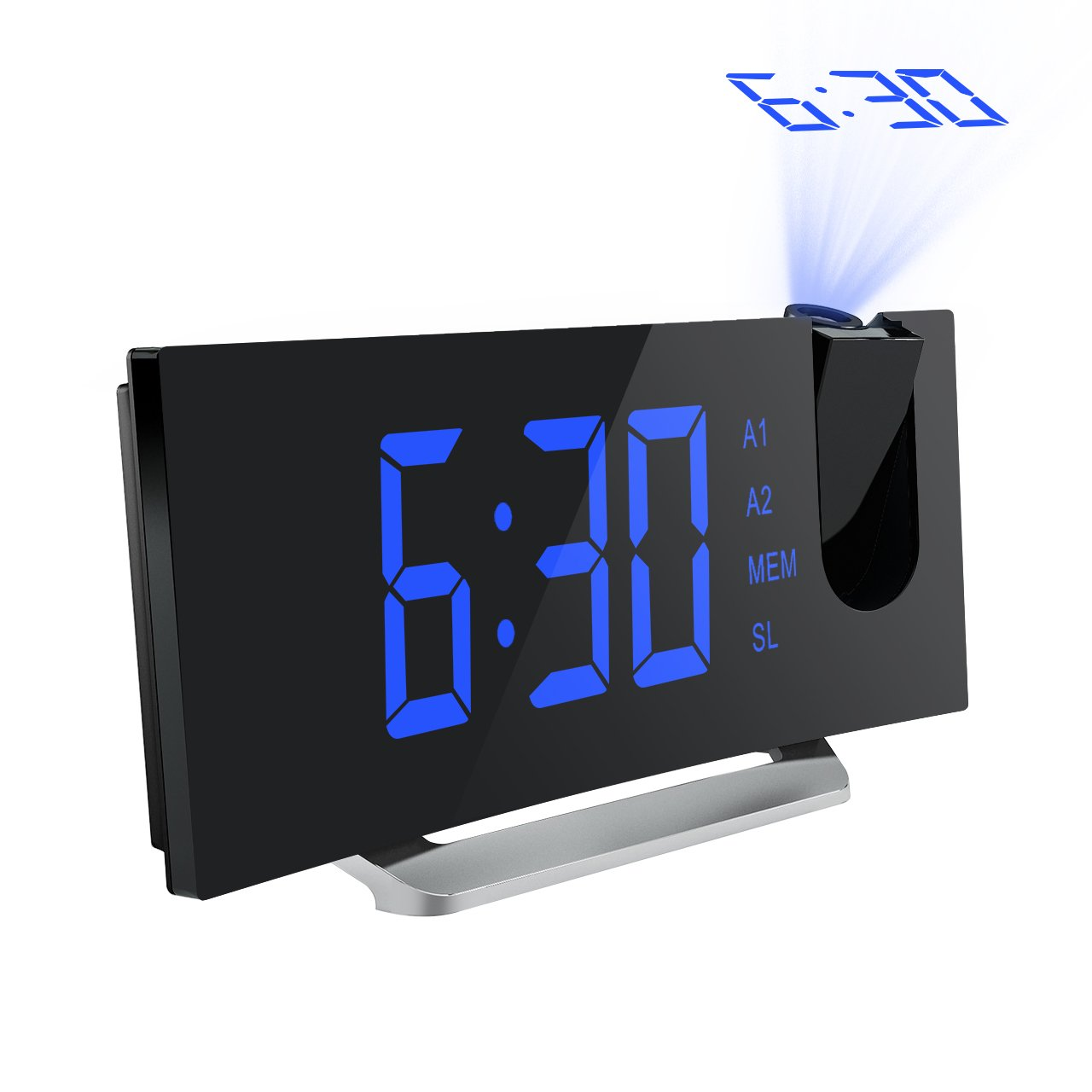 Mpow Projection Clock, FM Radio Alarm Clock, Curved-Screen Digital Alarm Clock, 5'' LED Display with Dimmer, Dual Alarm with USB Charging Port, 12/24 Hours, Backup Battery for Clock Setting