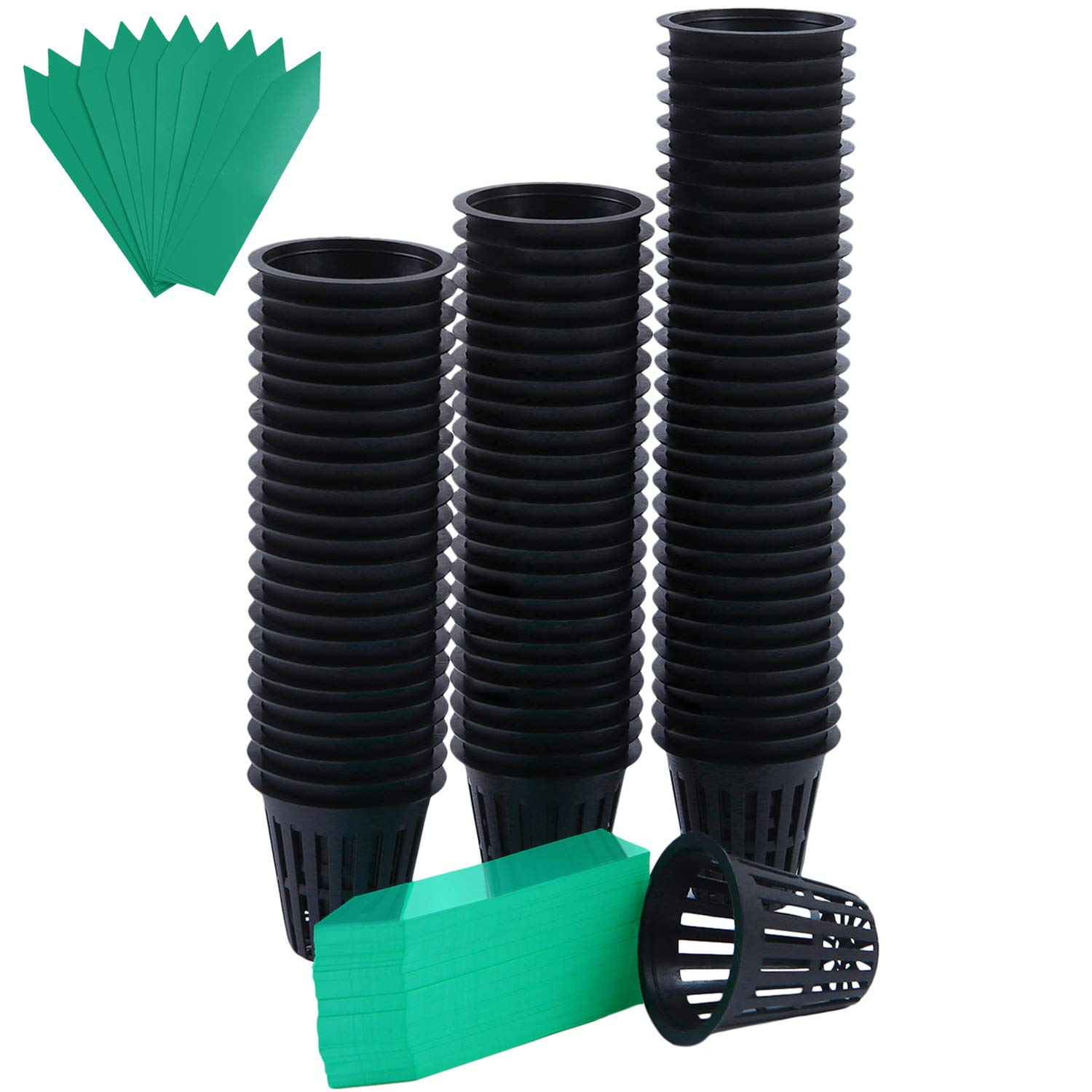 Resinta 80 Pack 2 Inches Garden Net Cups Pots Plastic Plant Slotted Mesh Net Cups and 100 Pieces Plant Labels by Resinta