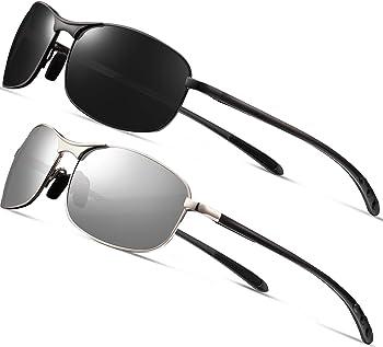 2-Pack Feirdio Rectangular Sport Polarized Sunglasses for Men
