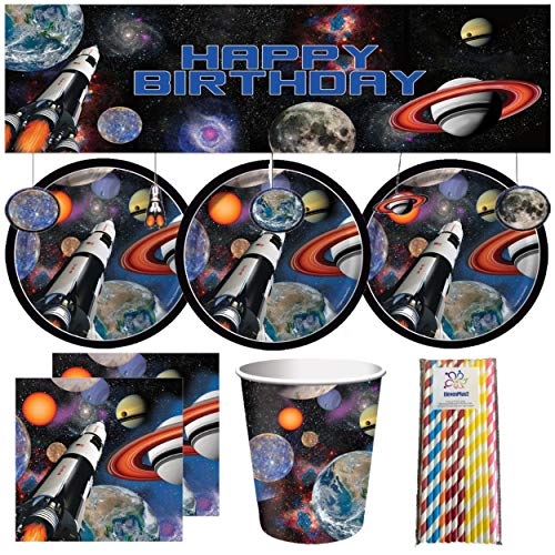 (Space Blast Outer Space Birthday Party Supplies for 16: includes plates, napkins, cups, banner with hanging attachments and ElevenPlus2 paper straws)