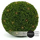 3rd Street Inn Cypress Lighted Topiary Ball - 19'' Artificial Pre-Lit Christmas Topiary Plant - Indoor/Outdoor Decorative Light Plant Ball - Wedding and Holiday Decor (1-pack)