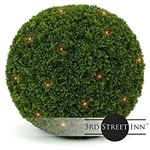 3rd Street Inn Boxwood Lighted Topiary Ball - Artificial Pre-Lit Christmas Topiary Plant - Indoor/Outdoor Decorative Light Plant Ball - Wedding and Holiday Decor 65