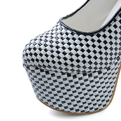AllhqFashion Womens High Heels Assorted Color Pull On Round Closed Toe Pumps Shoes Black 4pZbRv0w
