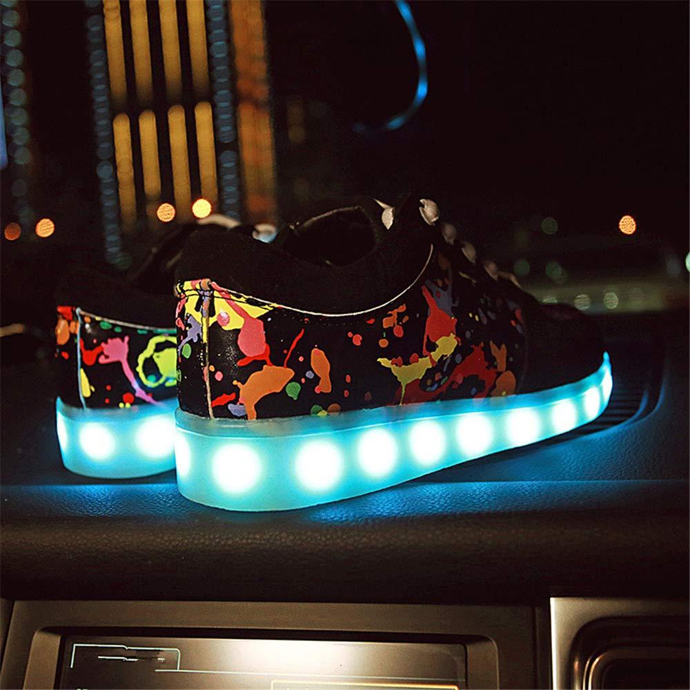 satisfied Unisex LED Light USB Charging Breathable Skate Shoes