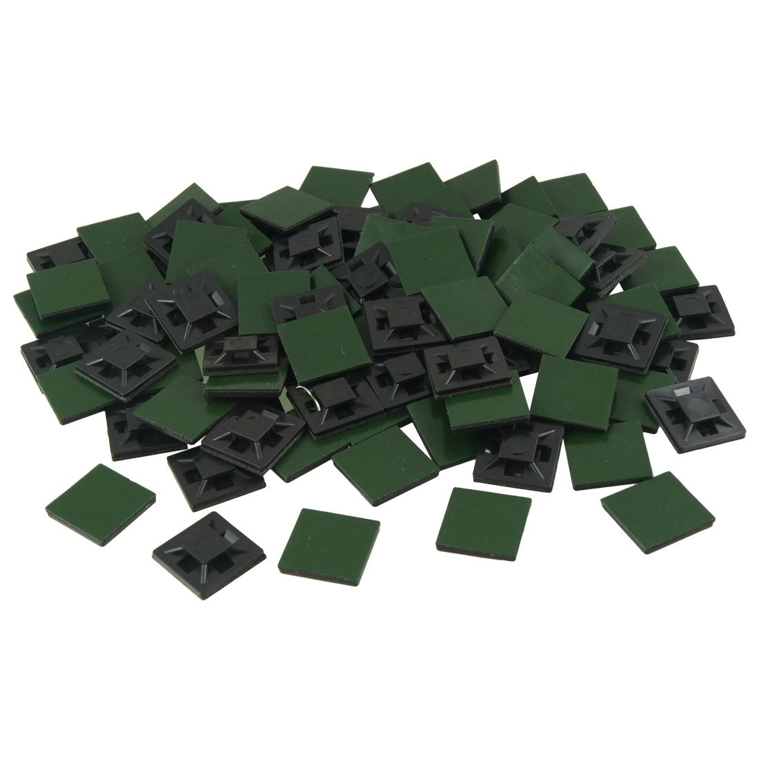 uxcell100 Pcs 20mm x 20mm x 4mm Self Adhesive Cable Tie Mount Base Holders Black a12102500ux0041