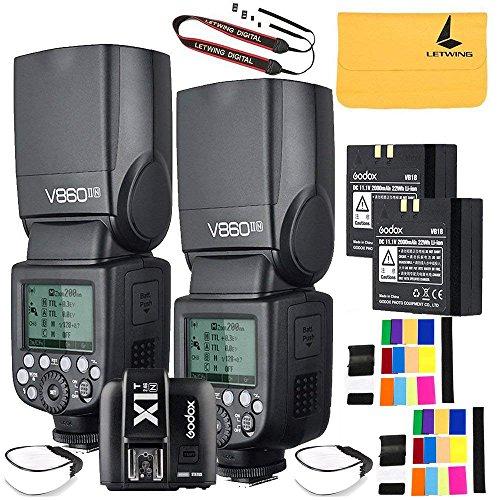 Godox V860II-N 2PCS 2.4G TTL Li-on Battery Camera Flash Compatible for Nikon D800 D700 D7100 D7000 D5200 D5100 D5000 D300 D300S D3200 D3100 D3000 D200 D70S D810 D610 D90 D750+Godox X1N-T Flash Trigger