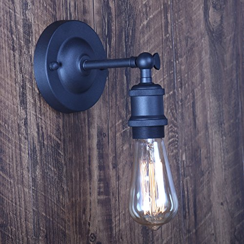 XIDING Premium Retro Industrial Edison Simplicity Metal Wall Sconce Light Fixture,Upgrade Black Finish Shade Vintage Swing Arm Wall Lamp, E26 Base, 1 Light by XIDING (Image #8)