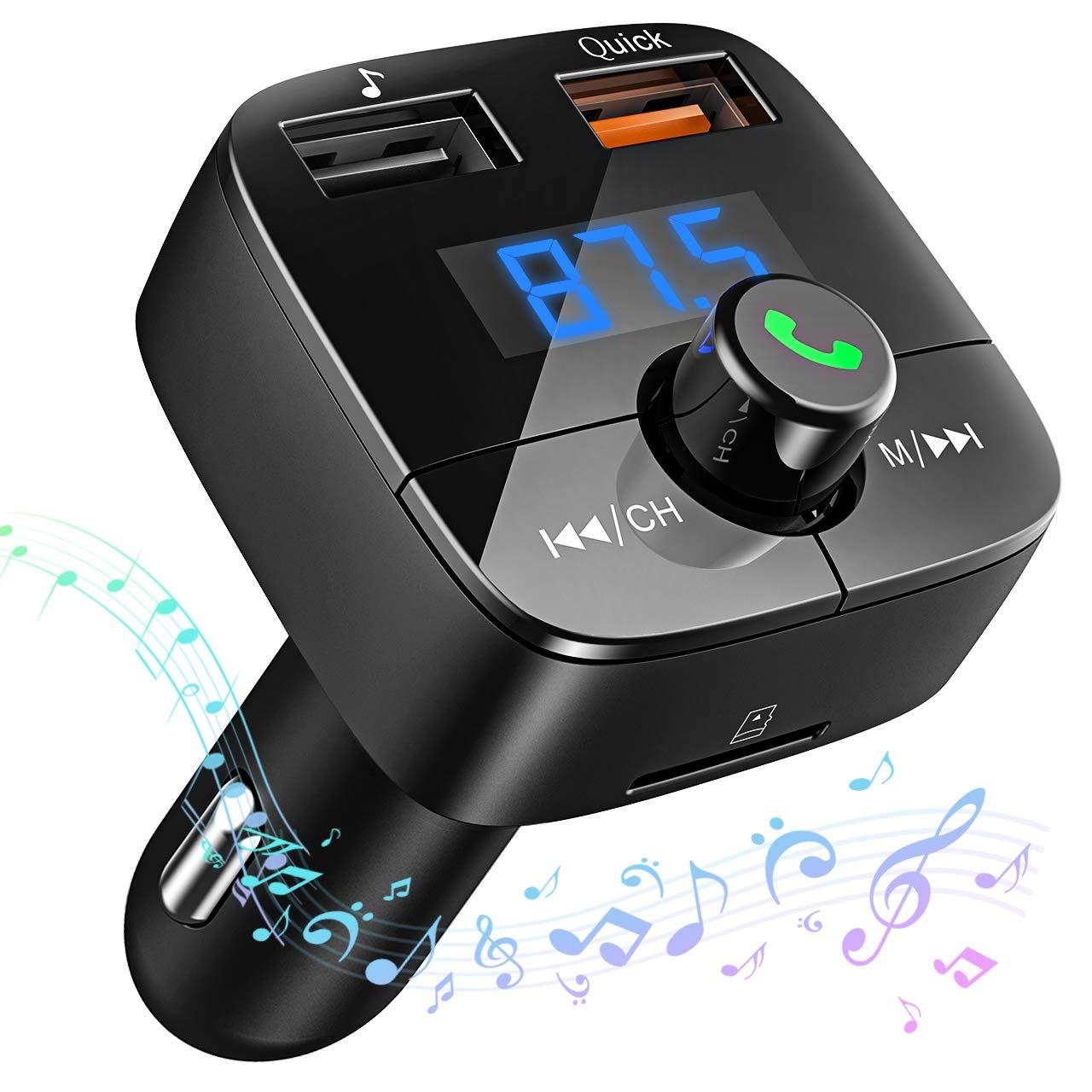 VicTsing Transmetteur FM Bluetooth Kit Voiture sans Fil Transmetteur Radio Mains Libres Adaptateur Lecteur Voiture USB Chargeur Allume-Cigare B079QH3C9M