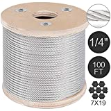 Durable - Stable - '1 Pcs T304 Stainless Steel Cable Wire Rope,1/4'',7x19,100ft Petroleum Lifting Strand.