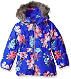 Joules Little Girls' Merrydale Padded Longline Coat, Blue Ditsy, 6
