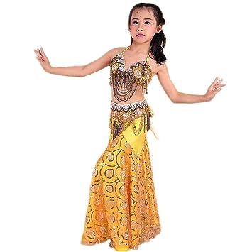Wgwioo Niños Belly Dance Falda India Diamond Sequins Tulle ...