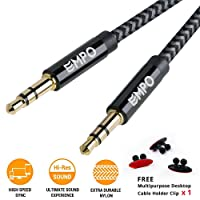 AUX Cable 3.3ft/1.0M EMPO® 3.5mm to 3.5mm Nylon Braided Audio Cable - LIFETIME WARRANTY - Copper Shell Aux Cord/ Lead for Car, Echo, iPhone, iPod, iPad, Beats, Bose, Sony, Headphones and More - Grey