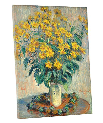 "Niwo Art (TM) - Jerusalem Artichoke Flowers, by Claude Monet - Oil painting Reproductions - Giclee Canvas Prints Wall Art for Home Decor, Stretched and Framed Ready to Hang (20""x24""x1.5"")"