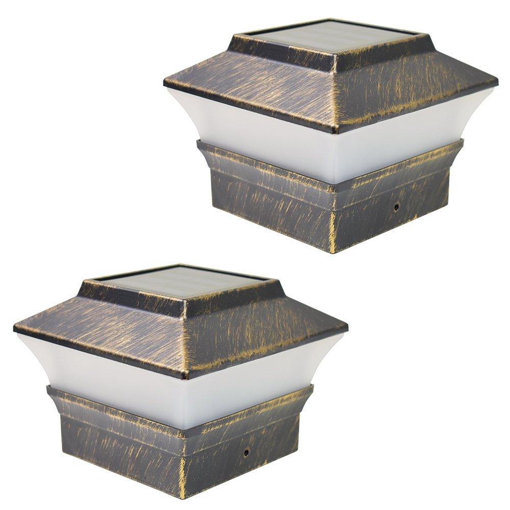 iGlow 2 Pack Vintage Bronze Outdoor 4 x 4 Solar LED Post Deck Cap Square Fence Light Landscape Lamp Lawn PVC Vinyl Wood
