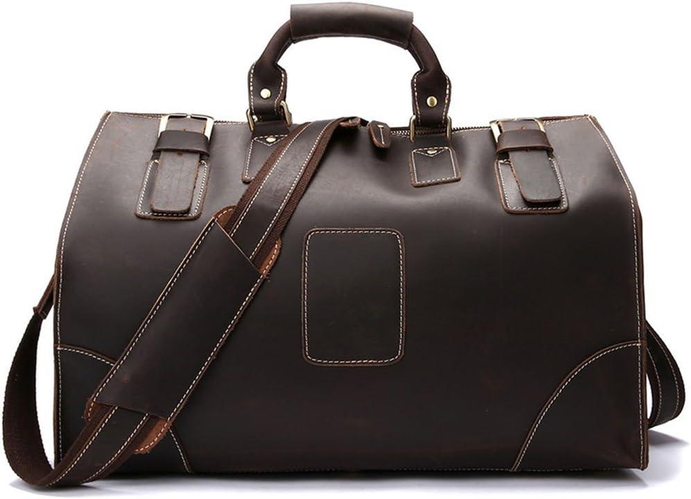 ボストンバッグ 大容量トラベルバッグ本物のハンドバッグ荷物男性収納パッケージレザーショルダーバッグ 男女兼用バック 旅行 機内持ち込み 通勤 出張 (Color : Brown)