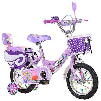 Minmin Bicicleta Infantil para niños y niñas con Ruedas de Entrenamiento y Canasta para niños,