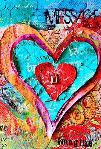 Toland Home Garden Paper Mache Love 28 x 40 Inch Decorative Colorful Valentine Heart Cut Out House Flag ()