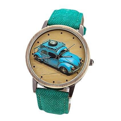 Yesmile Reloje❤️Conciso Moda Hombres y Mujeres Retro Coche Patrón Denim Twill Correa Reloj (