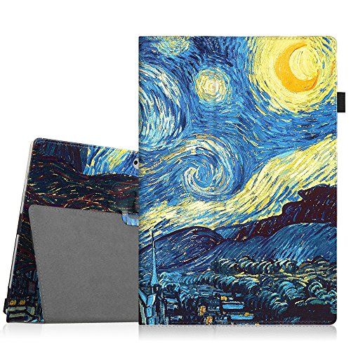 New Premium Leather Case (Fintie Microsoft Surface Pro 2017 / Surface Pro 4 Case - Premium PU Leather Folio Stand Cover w/ Stylus Holder for New Surface Pro / Surface Pro 4 3, Compatible with Type Cover Keyboard, Starry Night)