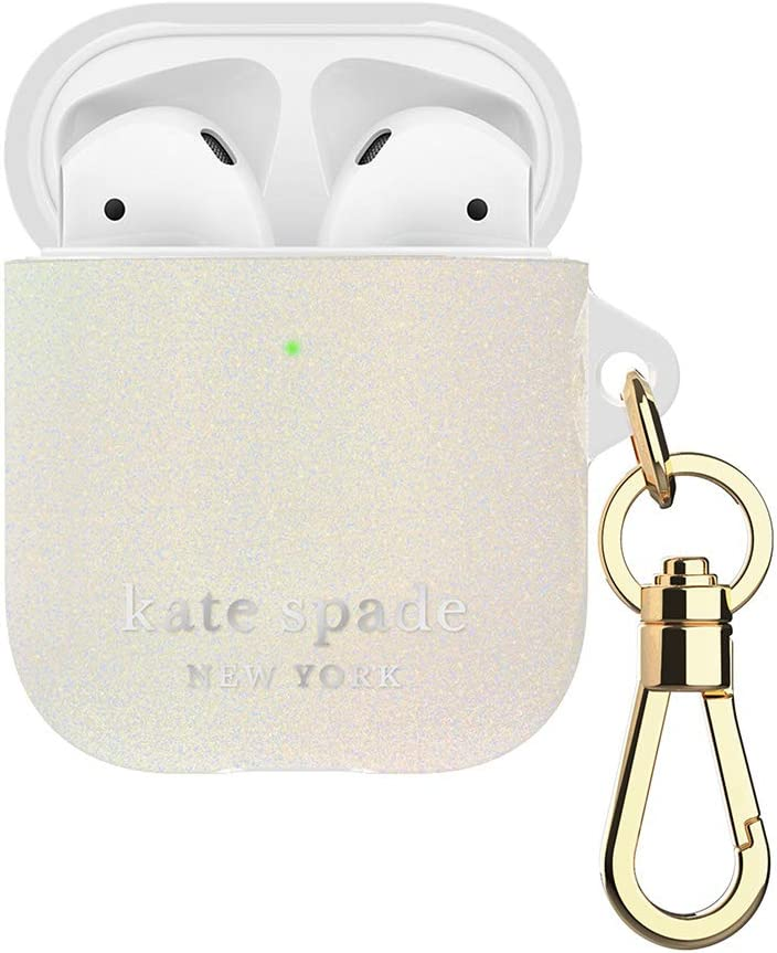 Kate Spade New York KSAP-001-WHTGL White Glitter Case for AirPods 2 & 1 - Protective Wireless Charging Cover with Keychain (Front LED Visible)
