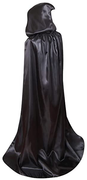 Long Silver Hooded Cape Masquerade Fancy Dress Gown Unisex Mens Womens Adult NEW