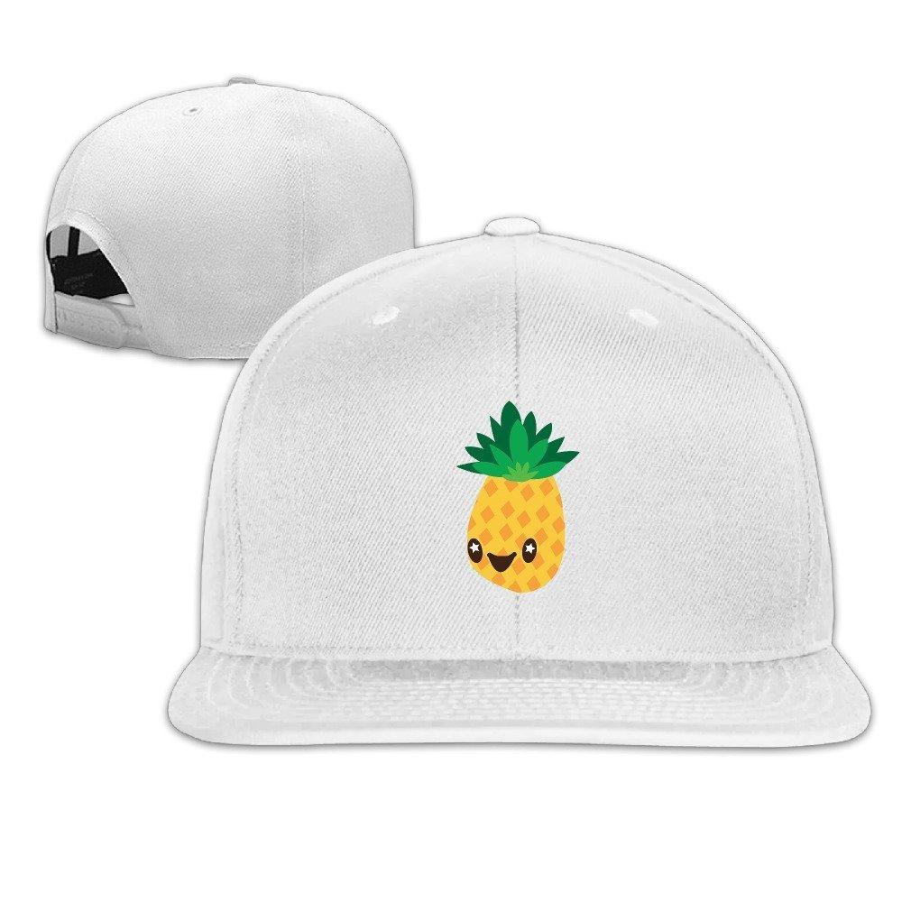 Pineapple Smile Unisex Cotton Flat Baseball Cap Ash One Size