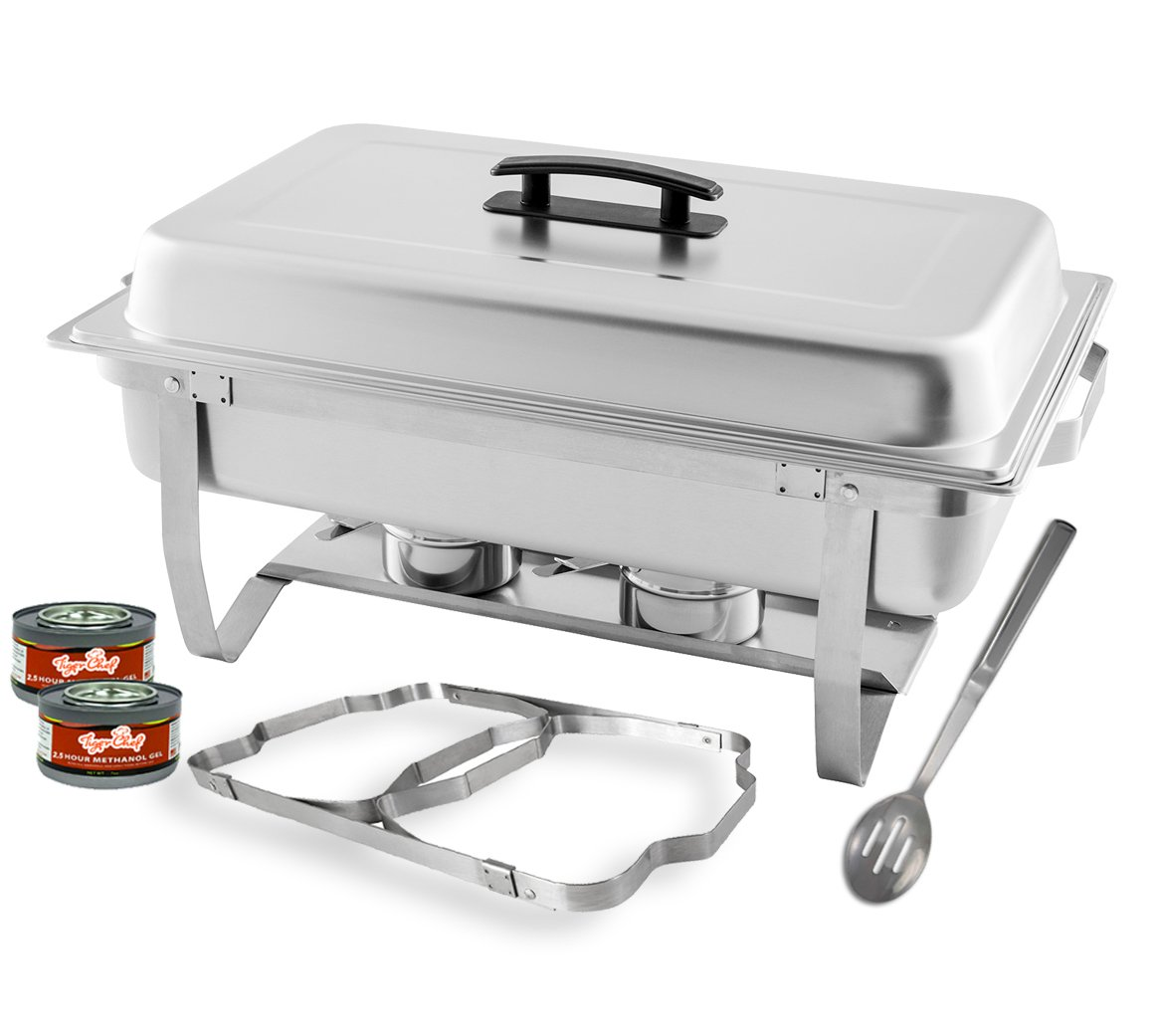TigerChef 8 Quart Full Size Stainless Steel Chafer with Folding Frame and Cool-Touch Plastic on top - Includes 2 Free Chafing Gels and Slotted Serving Spoon (1, 8 Quart Chafer)...