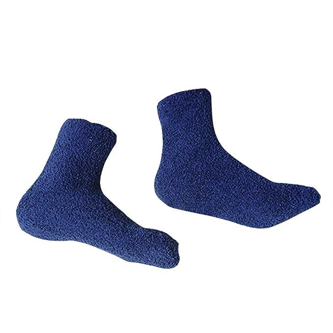 OULII 1 Par de Calcetines de Lana Polar Coral para Hombre Calcetines Gruesos (Azul Marino