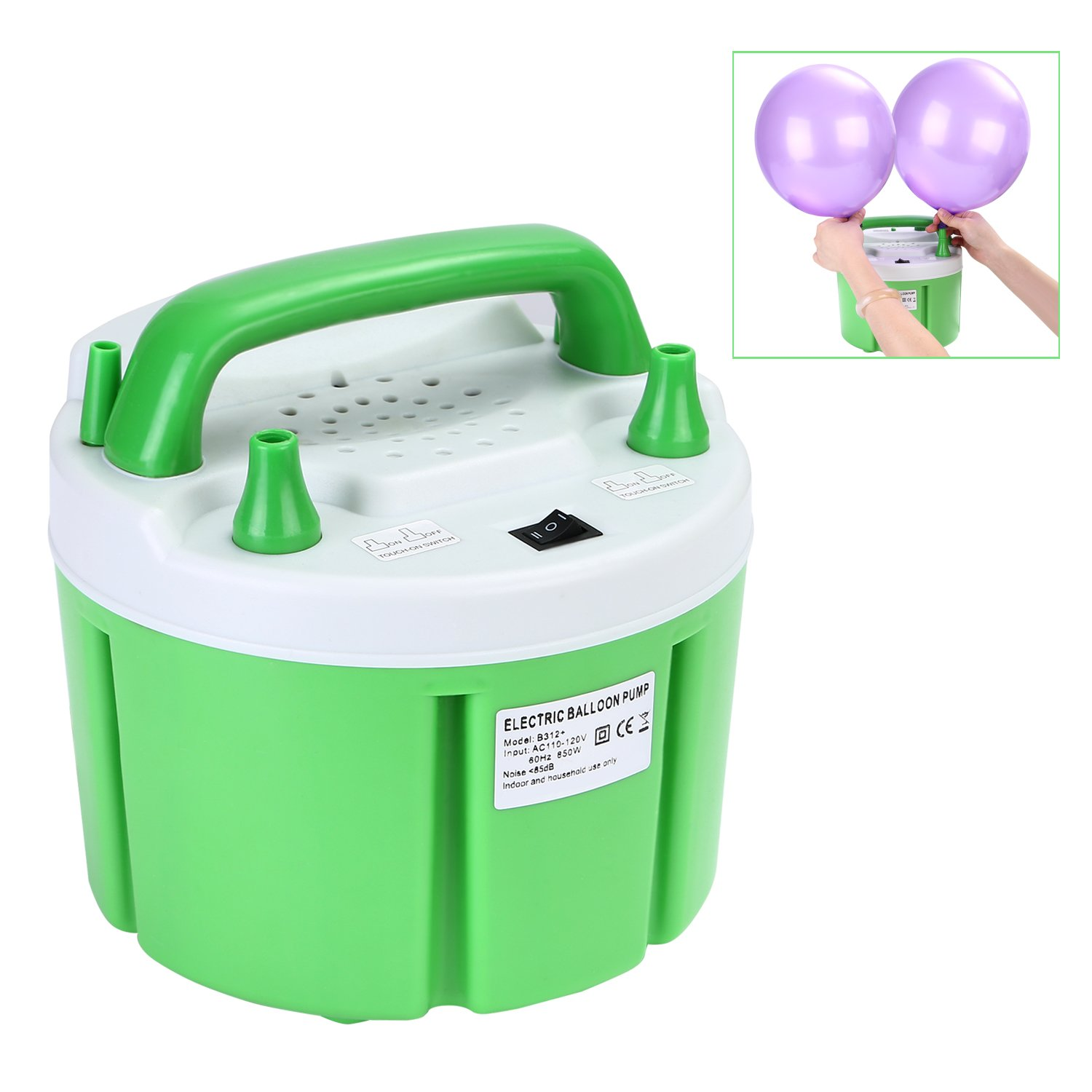 Maddott Electric Balloon Blower Pump Automatic Inflator 110V 850W 24000pa for Wedding Party Holiday Decoration, Green