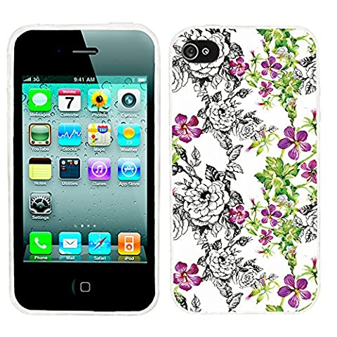 iPhone 4s Case Cute,iPhone 4 Case for Girls, ChiChiC full Protective Stylish Case slim durable Soft TPU Cases Cover for iPhone 4 4g 4s,vintage hand drawn black pink flower and green leaves on (Iphone 4 Case Artsy)