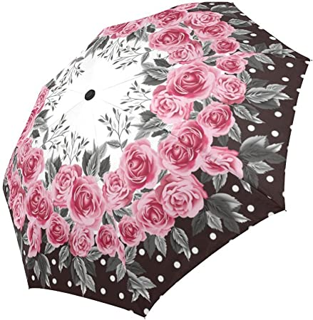 Retro Flower Style Pink Rose Folding Womens Portable Umbrella Automatically