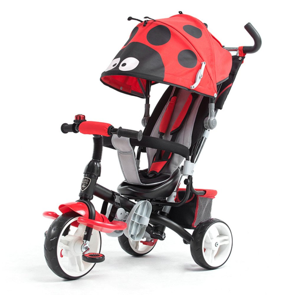 QXMEI Children's Tricycle Stroller Baby Stroller 1 to 6 Years Old Baby Bicycle with Awning,Red