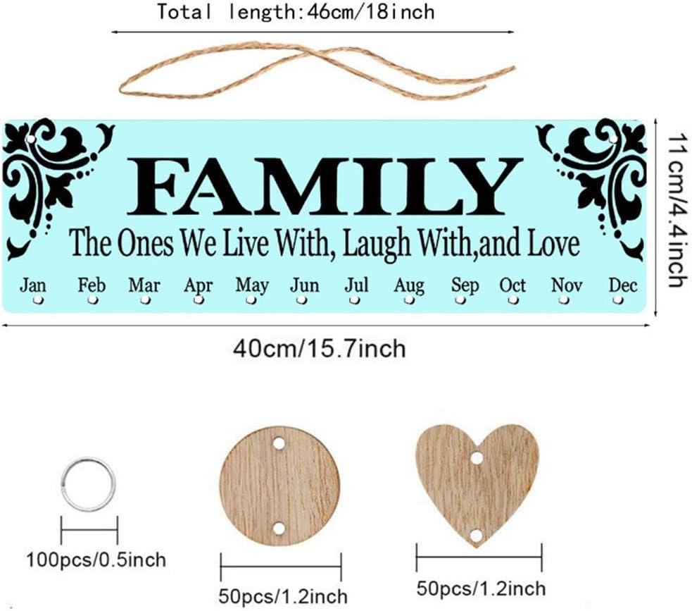 Deng Xuna Geburtstagskalender Holz Kalender Kreative DIY Handgefertigten Kalender Auflistung Wandbehang Kalender Erinnerung Bord Plaque Holz Handwerk Dekoration Geschenk