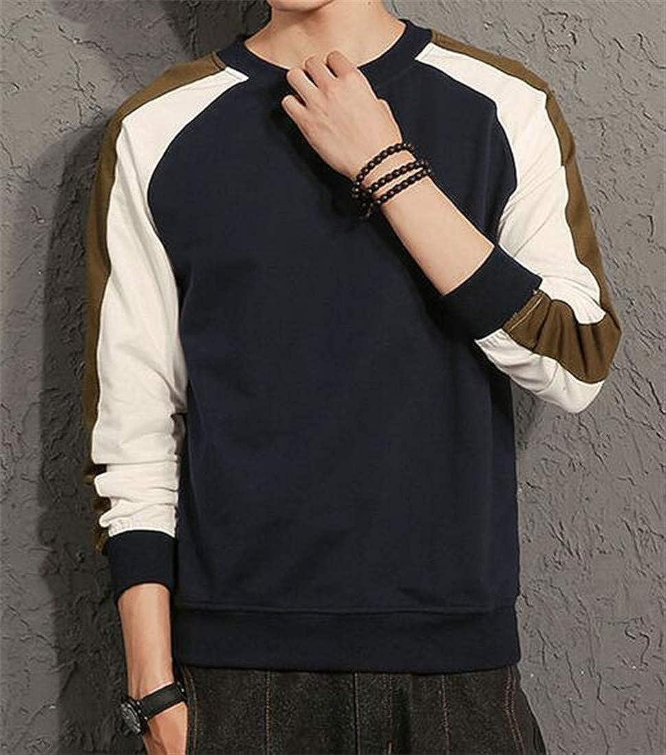 Joe Wenko Mens Pullover Contrast Colors Loose Crew Necks Jacket Sweatshirt