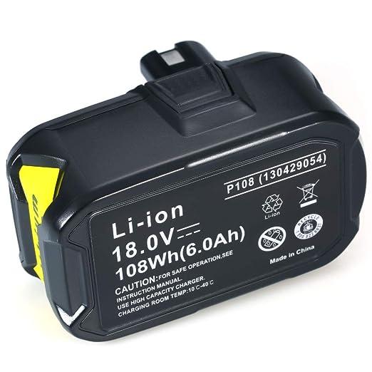 Fesjoy Batería de iones de litio,repuesto Ryobi 18V 4000mah ...