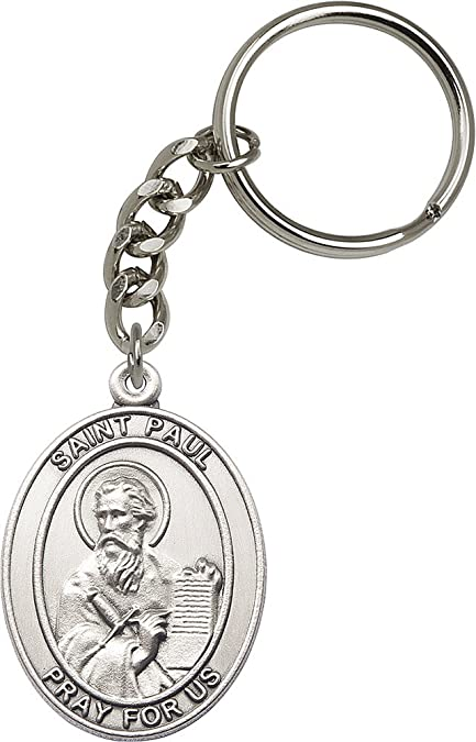 Amazon.com: Silver-Plated óxido San Pablo el Apóstol Llavero ...